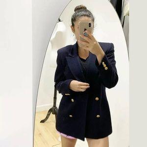 Christian Dior Navy Blue Wool Gold Buttons blazer